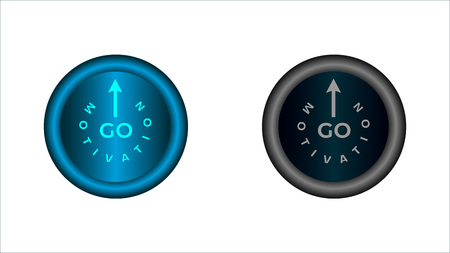Button on and off. Words: motivation, go and arrow sign illuminated   in light blue. The button in the switched version is highlighted in   blue and gray in the disabled version.