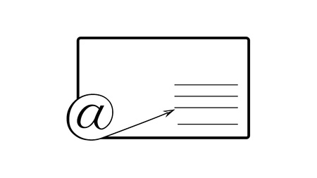 The monkey sign in the lower left corner of the envelope. Place for the address. Graphics for a website, an advertising, a banner. A combination of an ordinary letter and email.