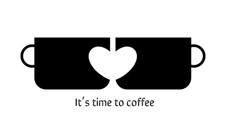Two cups with heart. Black cups. Graphics with heart. Graphics for cafes, restaurants, banner, website, culinary blog.