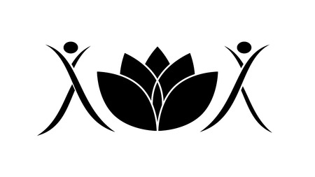 Two figures and a lotus. Fitness and Yoga Logo Template - vector. Black abstract design vector template. Logotype concept.