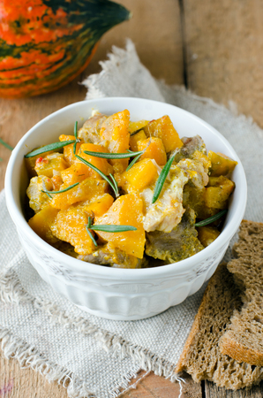 Meat stew with pumpkin photo