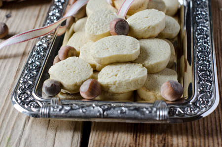 Walnut cookies on metal tray photo