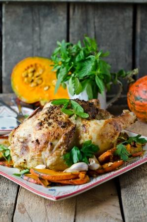 baked chicken: Baked chicken with pumpkin