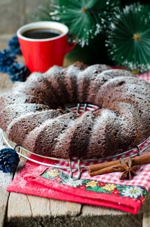 Chocolate Christmas cake Stock Photo - 25277971