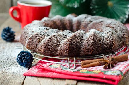 Chocolate Christmas cake Stock Photo - 25336005