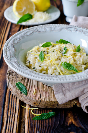 Risotto with lemon and mint