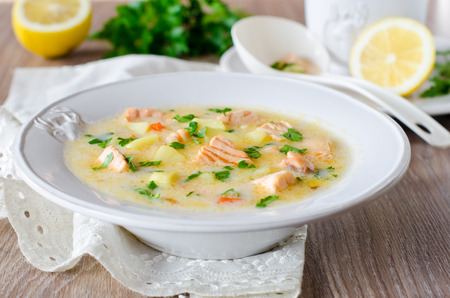 Cheese soup with salmon 스톡 콘텐츠
