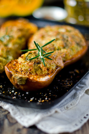 Pumpkin stuffed with couscous, zucchini and cheese Dorblu photo