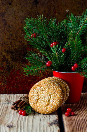 Christmas cookies with sesame seeds photo