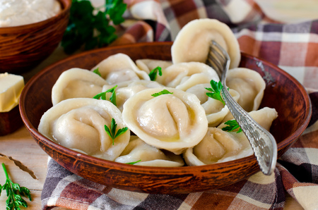 Homemade dumplings with meat Banque d'images