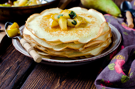 Pancakes with caramel pears Stock Photo
