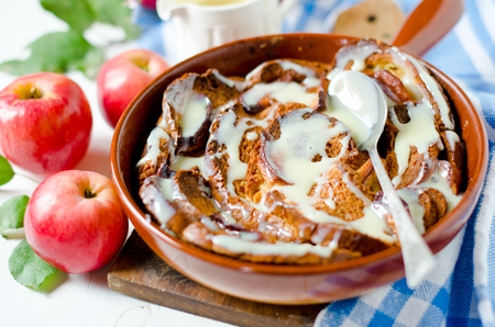 Apple caramel strata in a frying pan