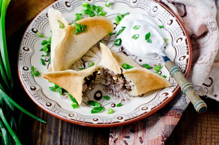 Pancakes stuffed with minced meat and cheese