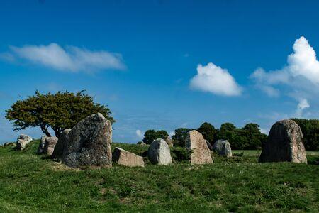 panorama of megalith monument Nobbin on german island Rügen near Vitt