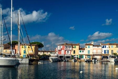canals and boats of Port Grimaud village in France