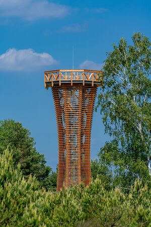 new wooden observation tower in nature reserve Kyritz-Ruppiner Heide in Brandenburg Germany