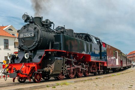 Molli-Bahn steam locomotive in the city of Bad Doberan