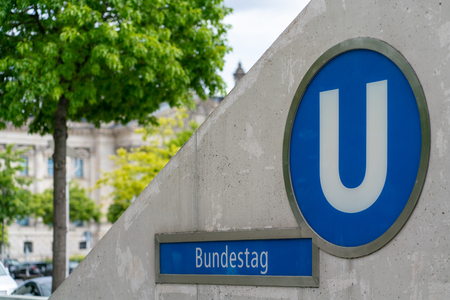 Berlin, Germany - July 07, 2019: entrance to the underground station Editorial
