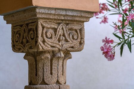 Details of a beautifully decorated carved sandstone column