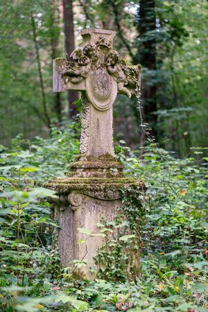 Stone cross monument decorated with two cherubs and covered with ivy on a graveyard