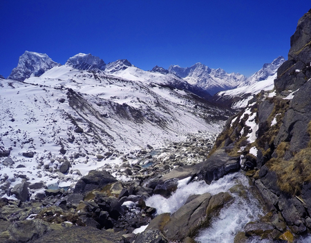 severe weather: Mountain river near Everest Base Camp, Nepal Stock Photo