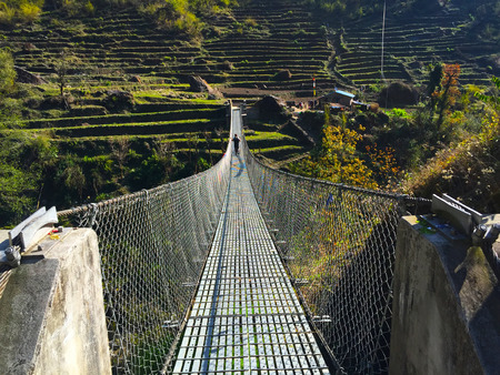 abyss: Suspension bridge above the abyss, Himalayas