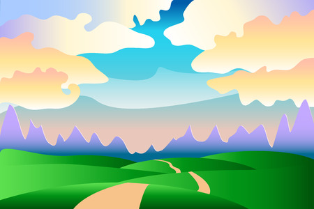 idyllic: Cartoon idyllic summer landscape with hills, clouds and road