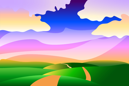walk away: Cartoon stylized idyllic peaceful summer landscape background with the clouds, hills and road, illustration, wallpapers