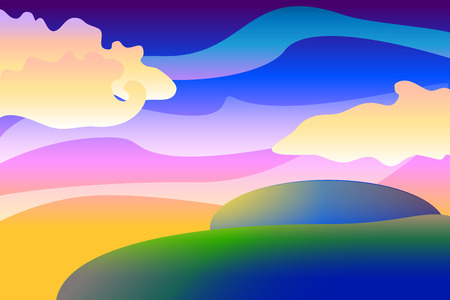 unearthly: Cartoon unearthly landscape background, colorful illustration with spheres and clouds,  wallpapers Illustration