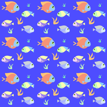 swatch: Retro fish pattern blue comics style with swatch