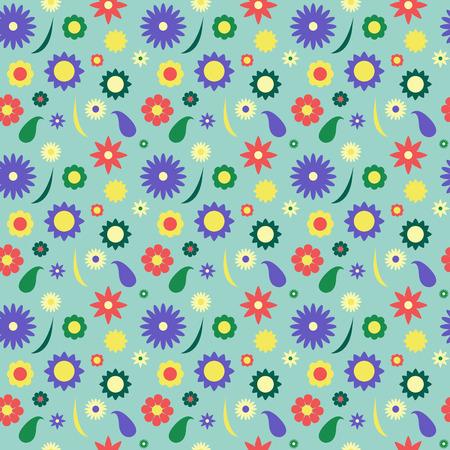 frequent: Colorful flower pattern in retro style spring meadow with chamomiles and blue background