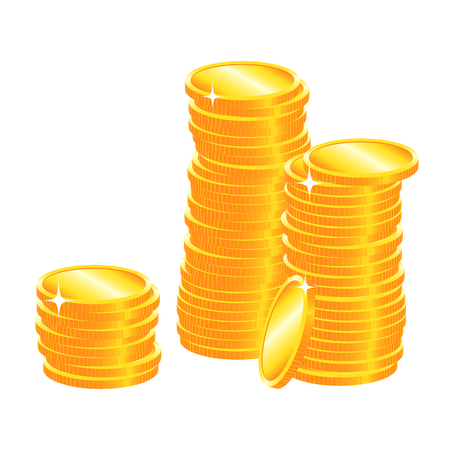 Golden coins rouleau sparkling yellow metal texture for economical illustration