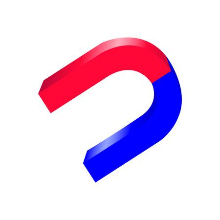 iman: imán de herradura azul y rojo en el estilo 3D