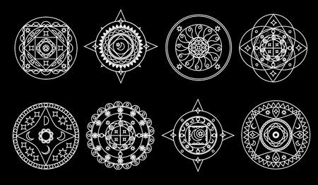 Set of white mandalas on black background Illustration