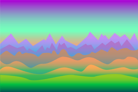 surrealistic: Neon colors surrealistic landscape background with mountains, with the space for text