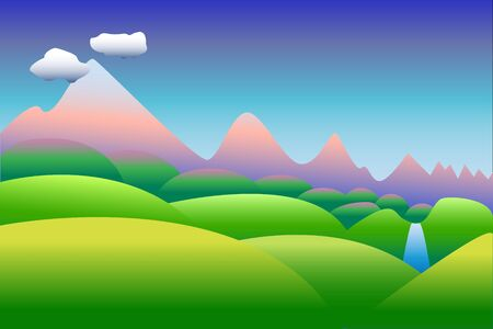 pink hills: Cartoon style illustration or background with the pink mountains and green hills, idyllic landscape with the place for text Illustration