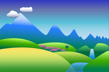 Mountain landscape in blue and green background, illustration in blue and green for wallpapers of postcard, with space for text Illustration