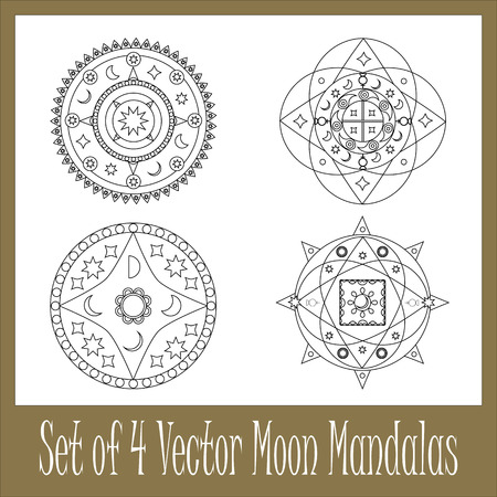 Set of 4 vector mandalas with moon and stars