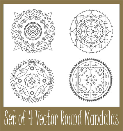 buddist: Set of four hand-drawn round mandalas for graphic design