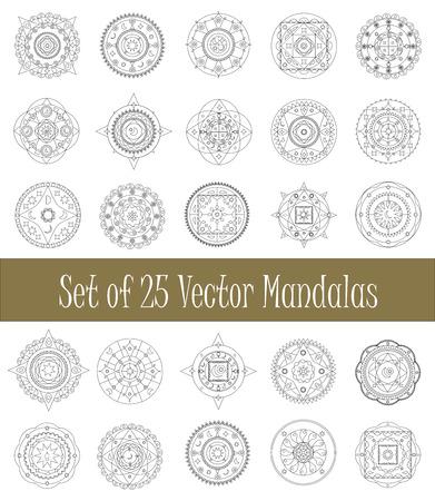 Set of geometric mandalas - vector clipart Vektorové ilustrace