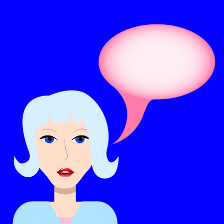 unreal: Girl with bubble for text, talking girl, call center girl, speech bubble woman, unreal hair color girl speaking, smiling girls face, young girl vector illustration, picture for questions and answers Illustration