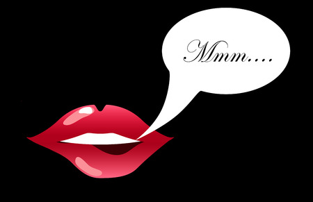 Lips biting with text bubble vector illustration for background, sensual lips of a woman smiling, glossy lipstick picture, girls kissing mouth, womans pretty smile, pink lips isolated, teeth icon