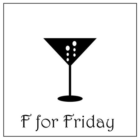 F for Friday week alphabet vector illustration, business week illustration