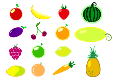 feeling good: Summer fruits and vegetables flat clipart isolated on white