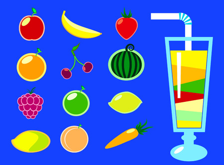 feeling good: Juice and fruits illustration in flat style, fruits icons, blue background