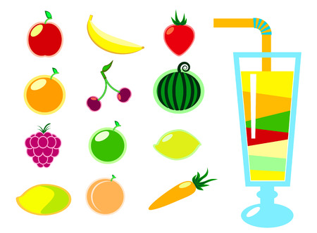 feeling good: Summer fruit and cocktails vector clipart, colorful fruits vector illustration