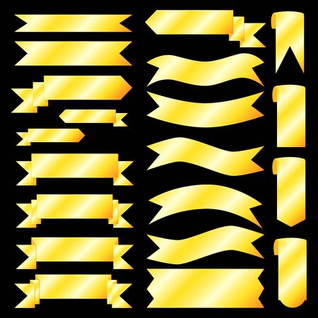 plated: Golden ribbons and flags for festive design, gold gradient effect, vector illustration