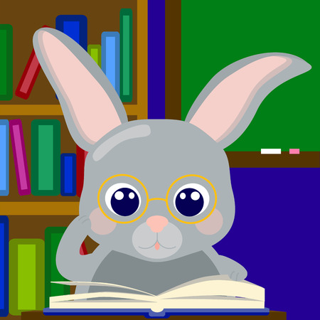 schoolkid search: Reading rabbit in class school learning vector illustration Illustration