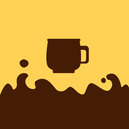 hot chocolate drink: Chocolate coffee flat vector illustration, hot chocolate drink in cup picture, chocolate coffee icon in flat style, cup picture with liquid splash and place for text, liquid chocolate illustration