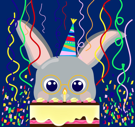Happy birthday postcard cute rabbit with cake, confetti, lovely bunny vector illustration for birthday, first birthday nursery illustration, baby bunny nerd in glasses, birthday creamy cake one candle
